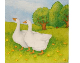 Set of 3 napkins ANI012 geese in the countryside
