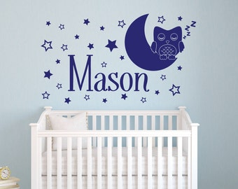 Name Wall Decal - Owl Wall Decal - Star Moon Wall Decal - Owl Name Wall Decal Nursery Wall Decals - Nursery Decor - Vinyl Wall Decal