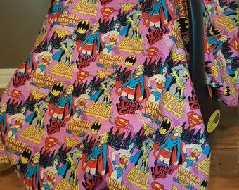 Female Superhero Custom Infant Carrier Cover Peek-a-boo Window Comic Book / Car Seat Canopy / Baby Girl Shower Gift / Bat Girl Wonder Woman