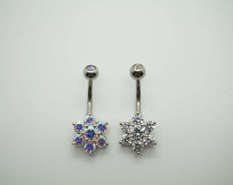 CZ Belly Ring, Belly Button Ring, Belly Piercing, Belly Jewelry, Navel Ring, AB color , crystal clear