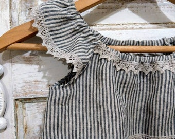 Linen Ticking Dress | The Ticking Dress | Washed Linen Ticking Dress | Striped Ticking Dress | Ellie Ann and Lucy