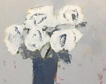 original flower painting white flowers farmhouse style farmhouse decor neutral colors art 12x12