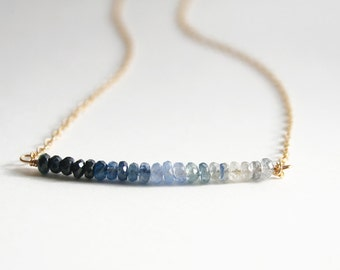 Sapphire Necklace, Graduation Gift, Gemstone Jewelry, Blue Necklace