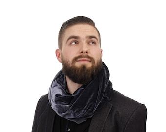 Dark silver velvet Scarf / mens scarf / Velvet Infinity Scarf / velvet scarf / loop scarves / fabric scarves / gift for him