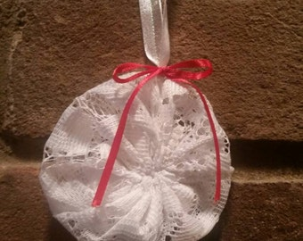 Lace Fabric Yoyo Christmas Ornament