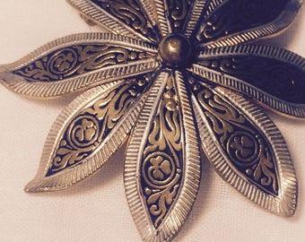 Flower Damascene  Brooch made in Spain