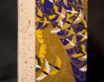 Sketchbook or Journal with Blue and Gold Birds