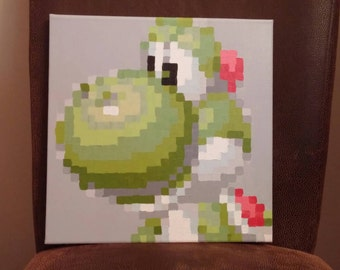 Yoshi avatar from Mario Kart SNES pixel painting 12x12 canvas