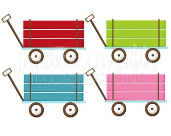 Pull Wagon Cute Digital Clipart, Cute Wagon Clip art, Wagon Graphics, Pink Wagon, Blue Wagon, Red Wagon Illustration, #242