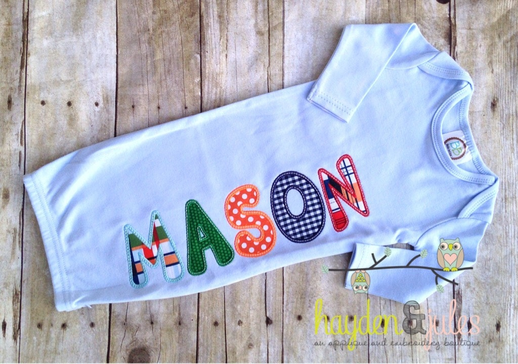Applique Name Boy Baby Gown Choose Your Fabric