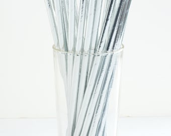 25 Shiny Silver Foil Paper Straws- Make your next party shine- Also great for weddings, bridal showers,  birthday parties, and more