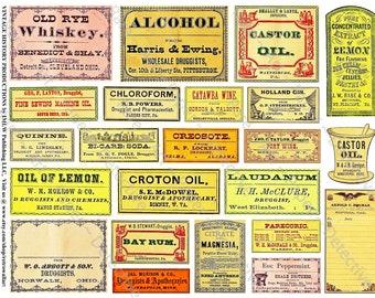 Pharmacy Labels, Antique Apothecary, Printed Art Paper, Vintage Bath Decor, Druggist Decals, Drug Store Medicine Signs, Bottle Labels, 371b