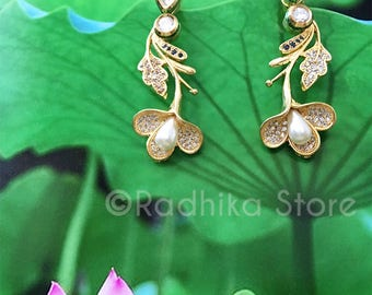 Calla Lily Earrings With Faux Crystals And Pearls