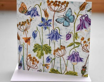 Aquilegia and Butterflies Card - aquilegia card, flower card, butterfly card, insects and flowers card, flowers birthday card, blank inside