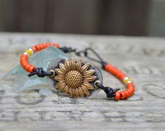 Brass Daisy Flower Bracelet . Soldered . Leather. Glass Beads. Boho Brass. Glass . Wedding Gift .Bracelet. Boho .