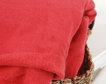 Orange Red French Terry Knit Fabric, Brushed Cotton French Terry Knit, Stretchy Fabric - By the Yard 94657