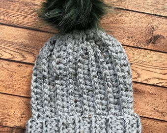 Chunky fold up brim hat in Gray Tweed (READY TO SHIP)