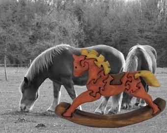 Pony puzzle: wooden rocking horse