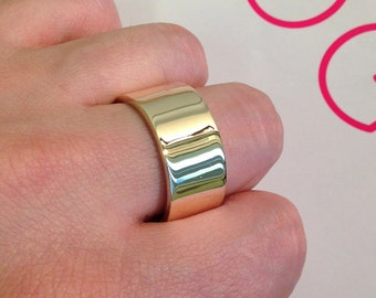 8mm Mens 9ct Yellow Gold Flat Shape Handmade Wedding Ring / Band / 7.1g