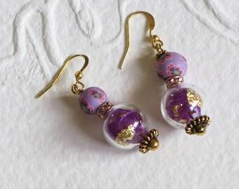 Earrings color purple
