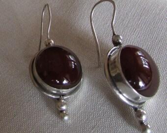 Sterling Silver and Carnelian Wire Dangle Earrings