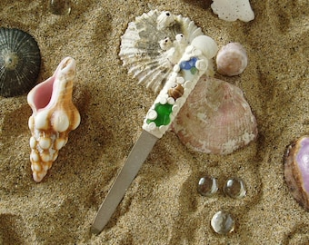 Fingernail File Mini Hand Crafted Beach Glass Pottery Pearls Shells