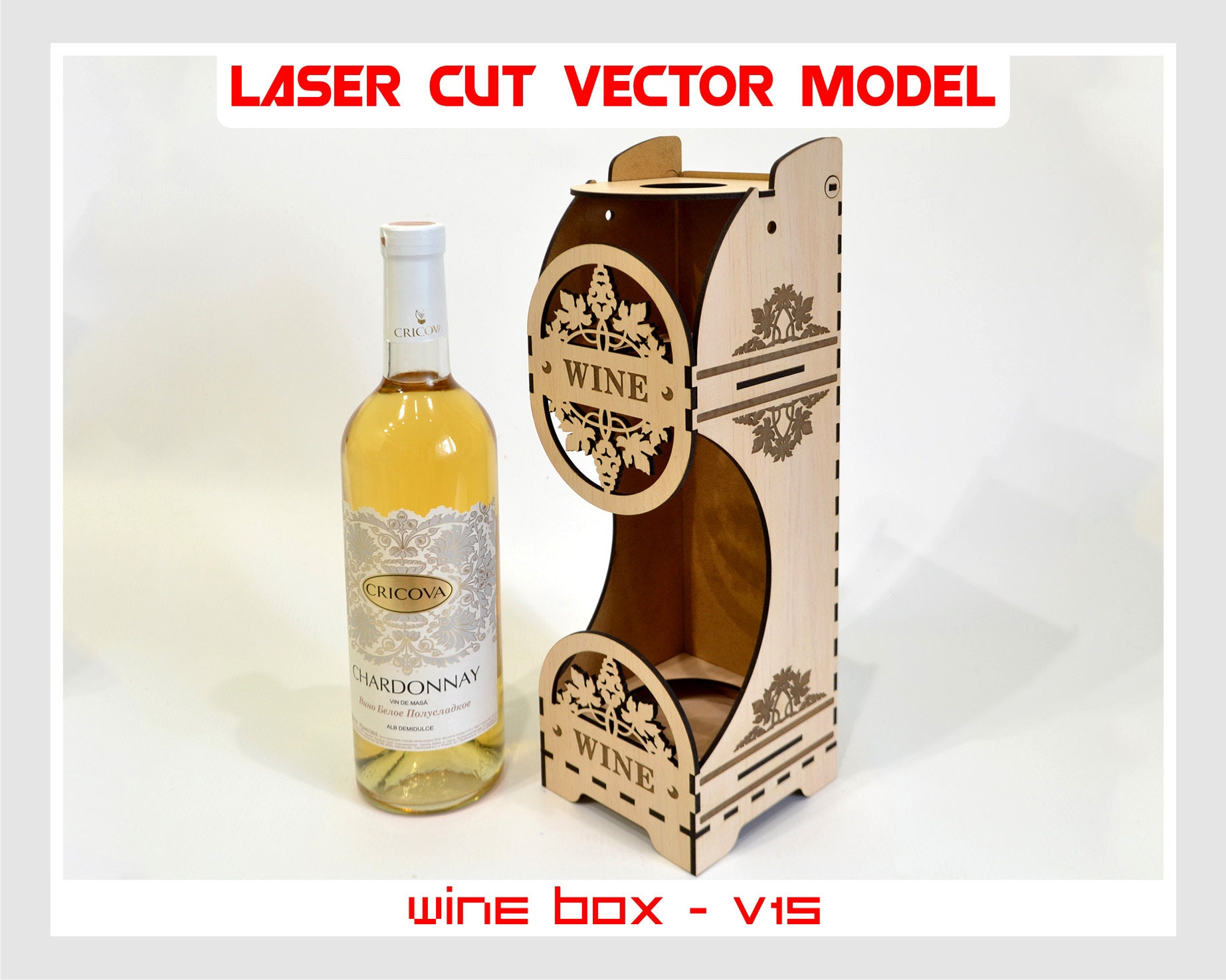 Wine box wood wine box plywood wine box laser cut vector for Timber wine box