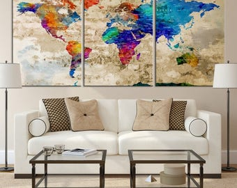 Large world map etsy world map wall art large world map world map push pin world map gumiabroncs Image collections