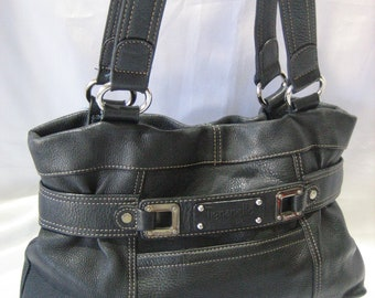 Vintage Tignanello Black Pebble Leather Tote Shoulder Handbag