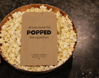 Wedding Popcorn Bags - All Because He Popped the Question