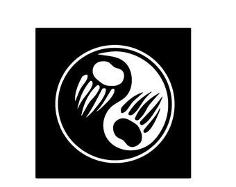 Bear Claw Yin and Yang Vinyl Decal, Car, Sticker, Native American, Indian, South Western