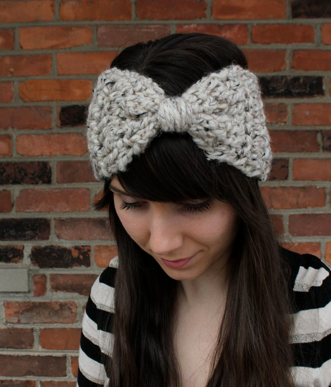 CROCHET PATTERN Bow Ear Warmer Headband Crochet Ear Warmer