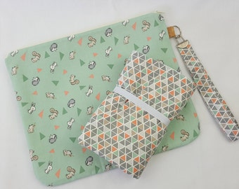 Little friends baby animals print nappy wallet with matching change mat set, nappy wallet, nappy clutch, diaper wallet, travel mat