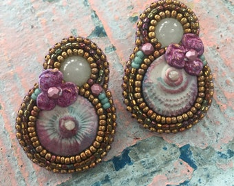 Pansy flower earrings
