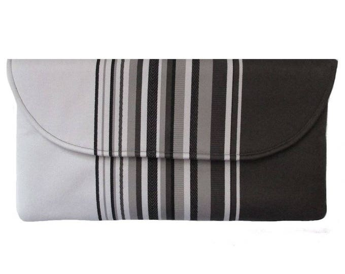 Shades of Grey Striped Clutch Bag