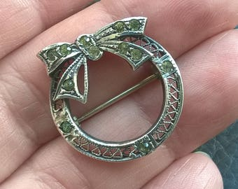 ANTIQUE Edwardian STERLING Silver Paste stones Brooch