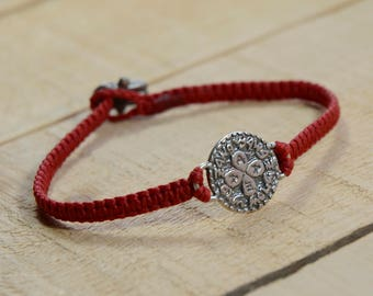 Love Amulet on Hand Woven Red Charm Bracelet for Men, King Solomon Charm Bracelet for Men
