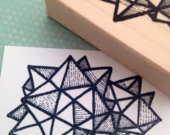 Geodesic Shape Wood Rubber Stamp 6526