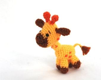 amigurumi giraffe, crochet giraffe, miniature giraffe toy, tiny giraffe doll, stuffed giraffe, stuffed animal, collectible animal doll, gift