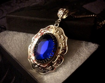Sapphire Necklace - Sapphire Crystal - Blue Crystal Necklace - Victorian Jewelry - Gothic Jewelry