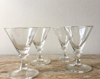 Vintage Mid Century Glass Stemmed Sherry Cordial Glasses 4 Cocktails One Ounce