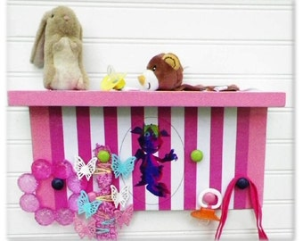 "Kids' Room or Nursery Organizer Shelf Featuring 'Movi' the Mauve & Green Monster Kid.  15""x7""x4"" deep. Children Will Love the Happy Monster."