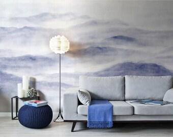 Oriental Misty Mountain Wallpaper Foggy Mountain Hill Silhouette Wall Mural Romantic Smoky Blue Ink Grey Wall Art