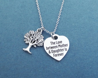 The Love between Mother & Daughter is Forever, Tree, Heart, Silver, Necklace, Gift, Jewelry