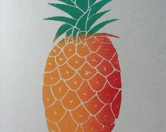 Pineapple linocut