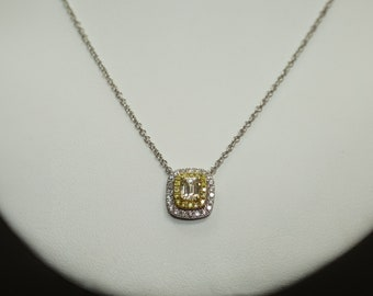 18k White Gold Yellow and White Diamond Double Cushion Halo Necklace
