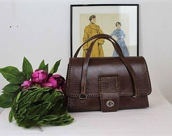 Vintage Leather Handbag/1940's Leather Handbag/1940's Reenactment/1940's/SALE(Ref1977L)