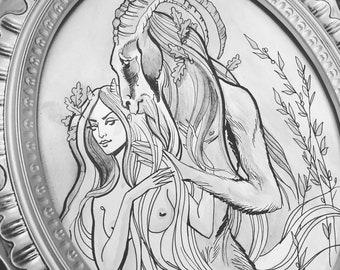 Custom nymph and satyr ink and gouache painting framed - you choose the final colors