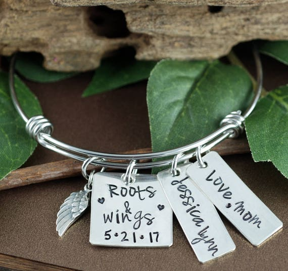 Personalized Bracelet for Mom, Roots and Wings Bracelet, Bridal Gift for mom, Mother of the Bride, Wedding Gift, Wedding Jewelry,