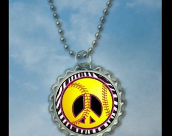 1 Peace sign Softball Bottlecap Necklace,GLITTER or Plain, softball gifts, softball team, softball gift, softball necklaces, team gift
